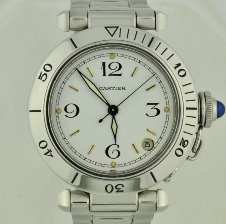 564f5de76ae Men s Cartier Pasha C 2324 Stainless Steel 35mm White Dial Watch