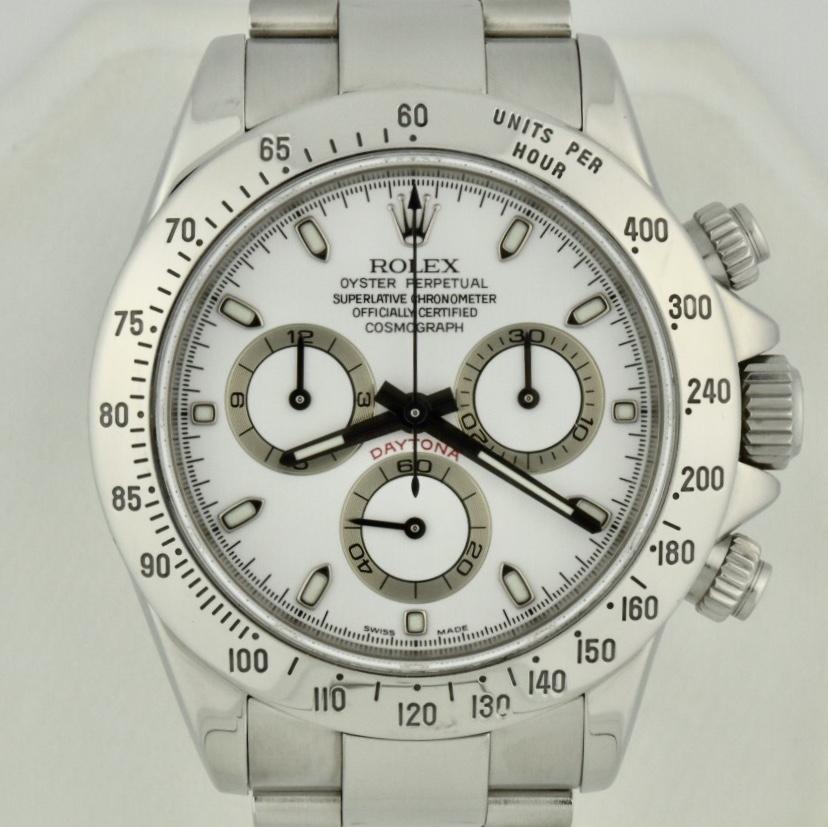 Men S Rolex Daytona Stainless Steel 116520 White Dial D Serial For Sale