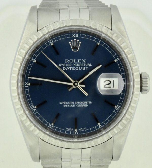 rolex datejust 16220 blue dial