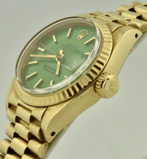 Ladies rolex president 6917 green Stella dial