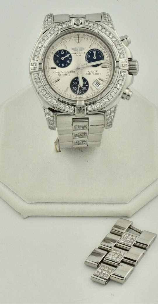 breitling colt chronograph diamond watch for sale