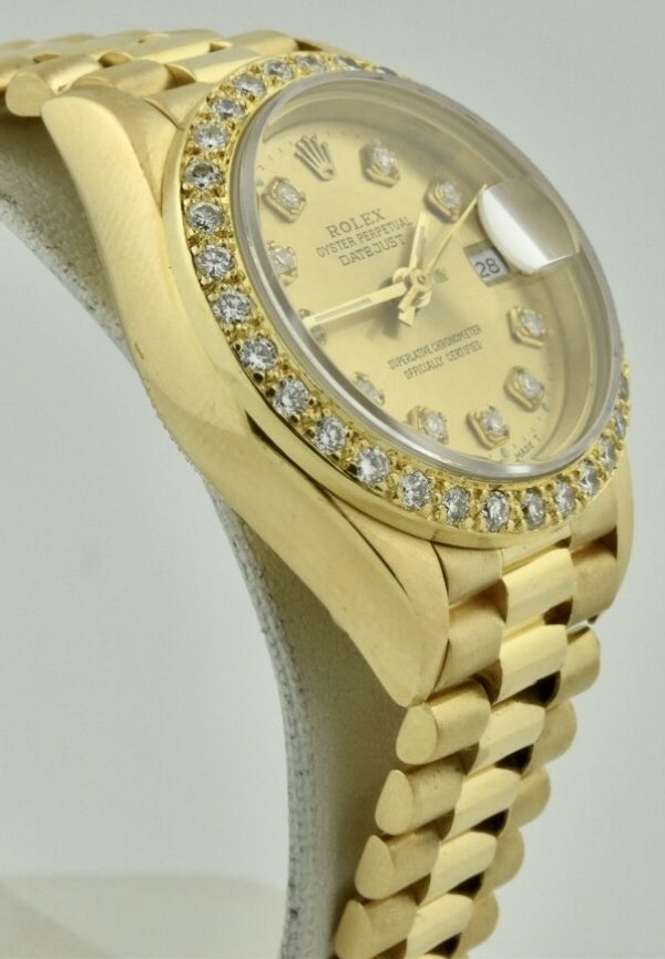 rolex president diamonds side