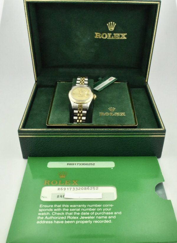 ladies rolex datejust 69173 champagne dial for sale