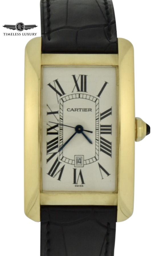 mens Cartier tank américaine 18k gold