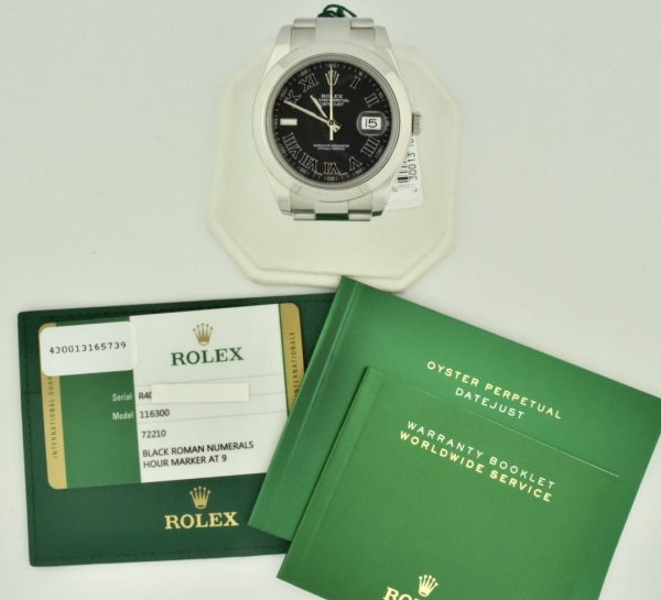 rolex datejust 41mm black roman dial for sale