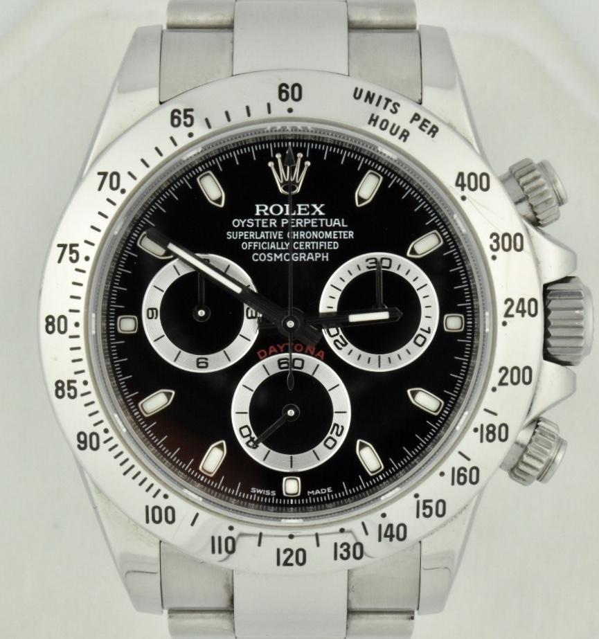 Rolex Daytona 116520 Stainless Steel 40mm Black Dial V Serial For Sale