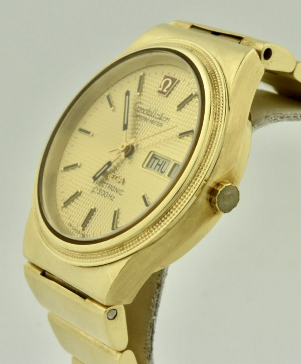 omega constellation electronic f300hz 18k gold for sale