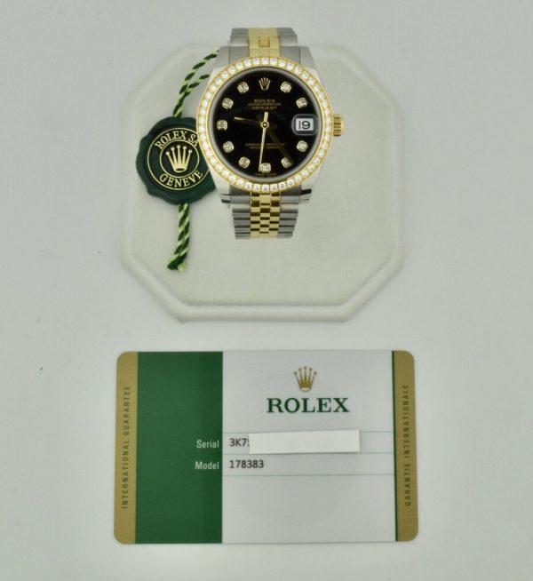 rolex datejust 178383 steel & gold diamond bezel for sale atlanta