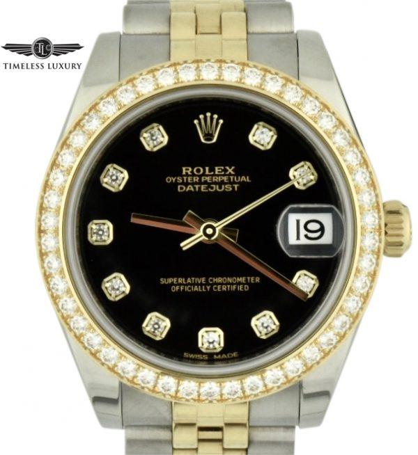 Ladies rolex datejust 31 178383 diamond bezel
