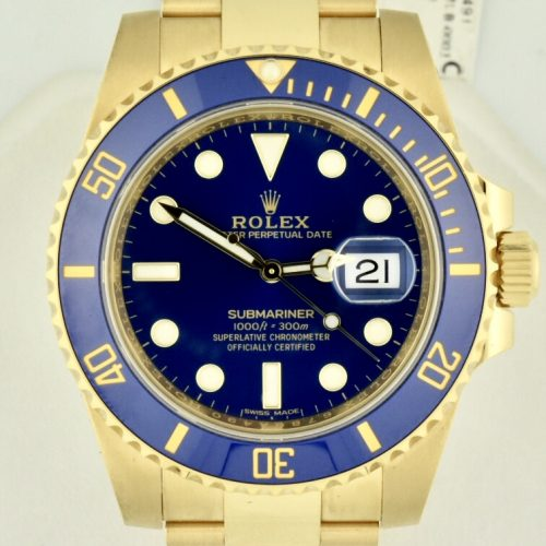 Rolex 116618 submariner 18k gold blue dial for sale