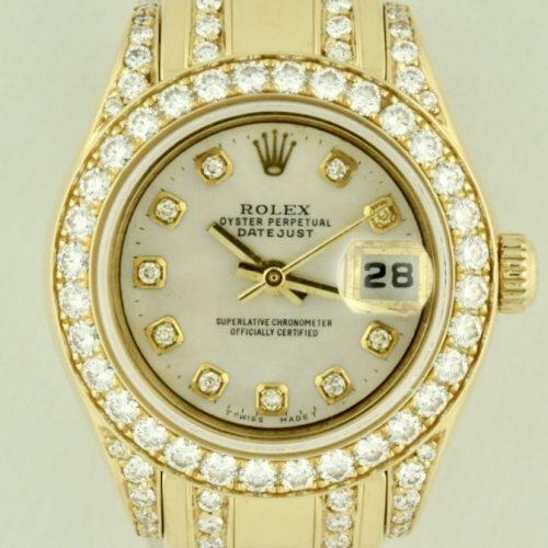 Ladies Rolex pearl master 80298 yellow gold diamond watch