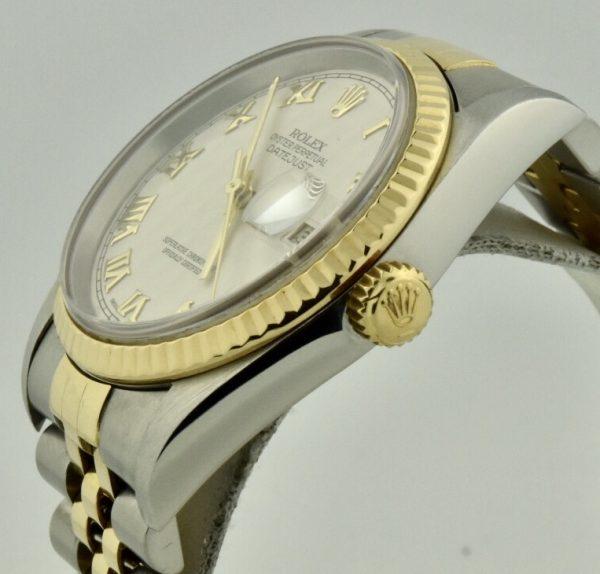 rolex datejust 16233 gold crown