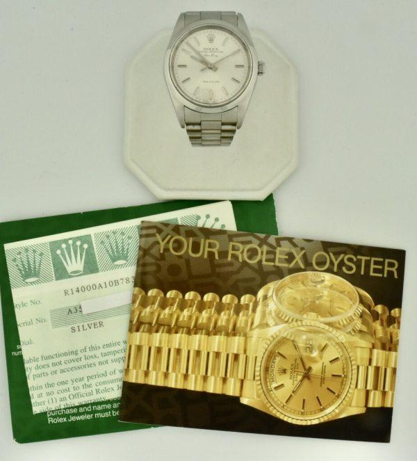 1999 rolex air king 14000 silver dial