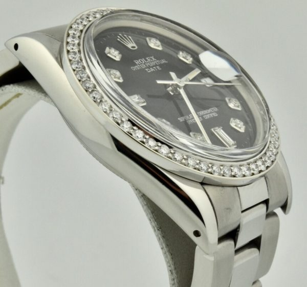 rolex date 15000 black diamond dial