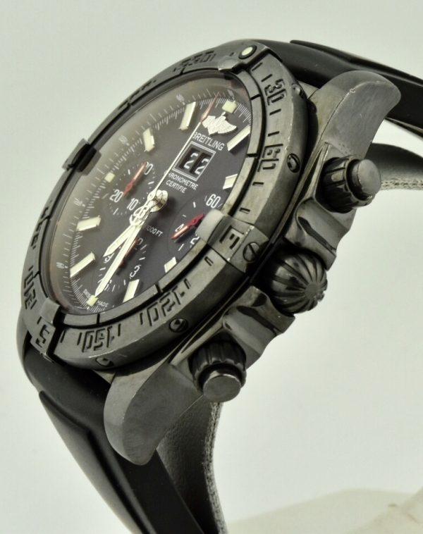 breitling black steel watch