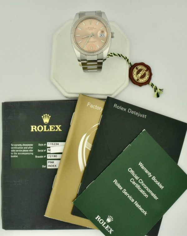 rolex date pink dial for sale 115234