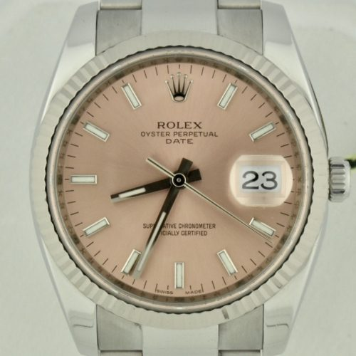 Rolex oyster perpetual date 115234 pink dial for sale