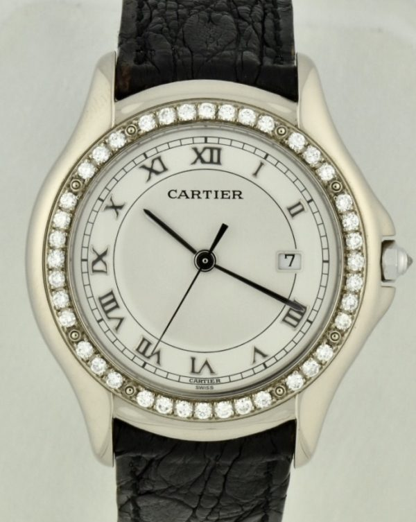 Cartier Cougar Panthere 18k White Gold Diamond Watch for sale