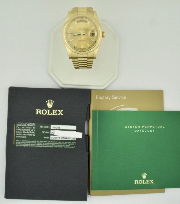 rolex president 118208 18k yellow gold for sale 2012