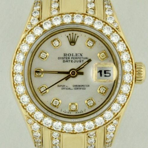 Ladies Rolex Datejust Pearlmaster Diamond Watch For Sale