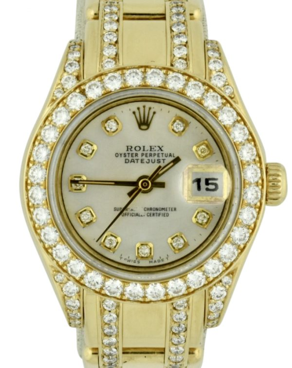 Ladies Rolex Pearlmaster diamond bezel watch