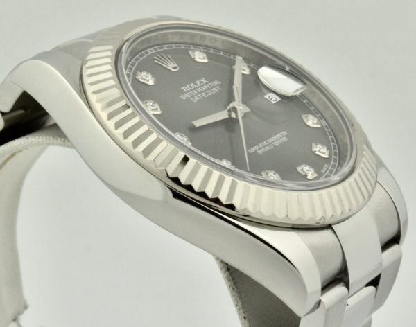 rolex datejust 41 rhodium diamond dial 116334