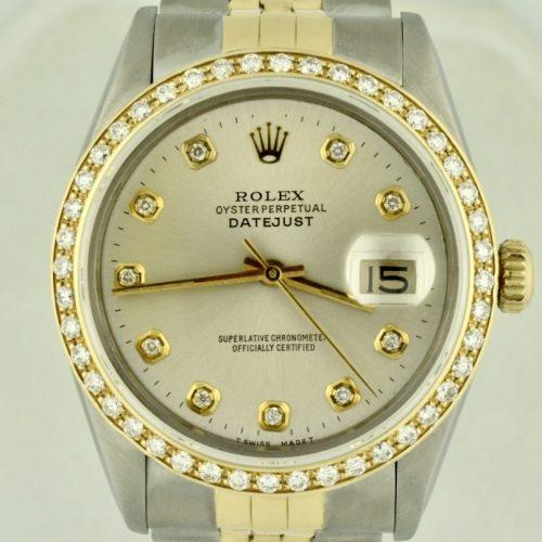 Rolex datejust 16013 diamond bezel watch for sale