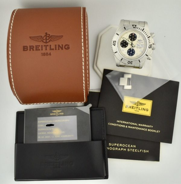breitling superocean chronograph a13341 white dial for sale