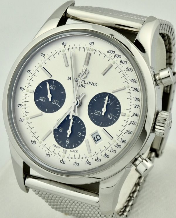 breitling transocean silver dial