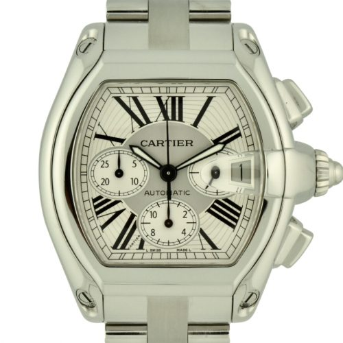 cartier roadster xl chronograph silver dial for sale