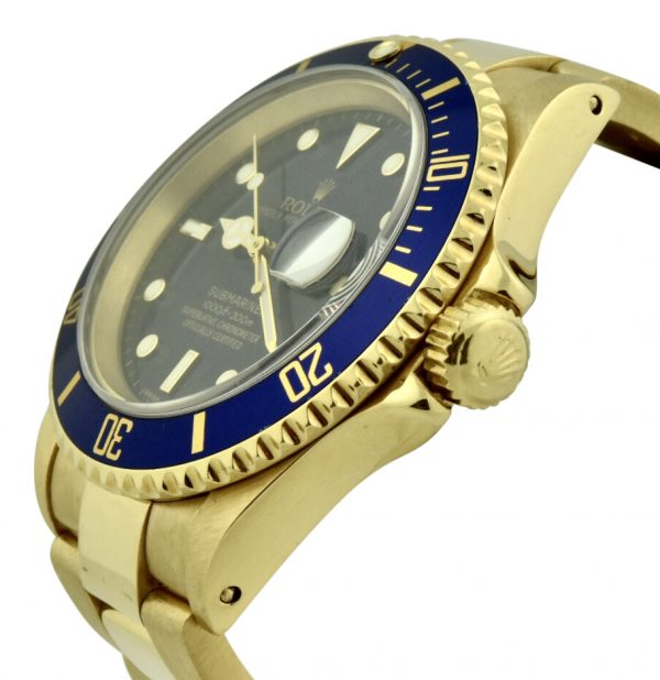 rolex submariner 18k gold blue dial