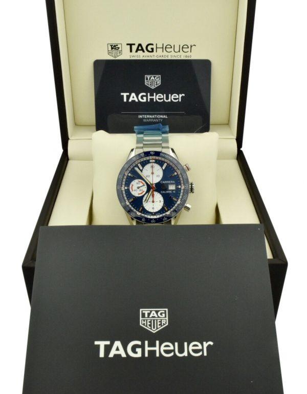 tag heuer carrera calibre 16 cv201ar.ba0715 blue dial for sale