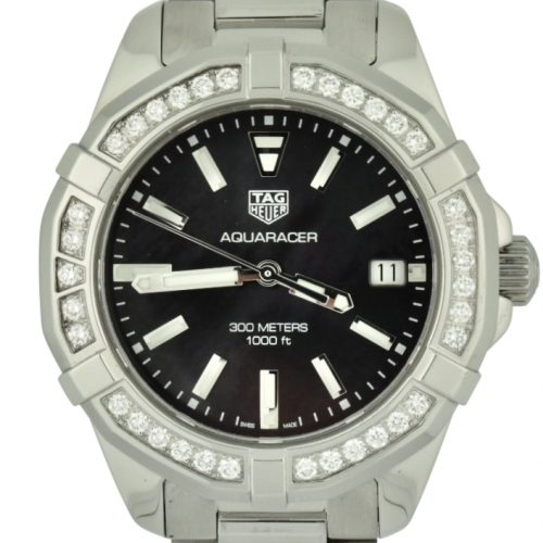 Ladies tag heuer aquaracer diamond bezel black mother of pearl watch