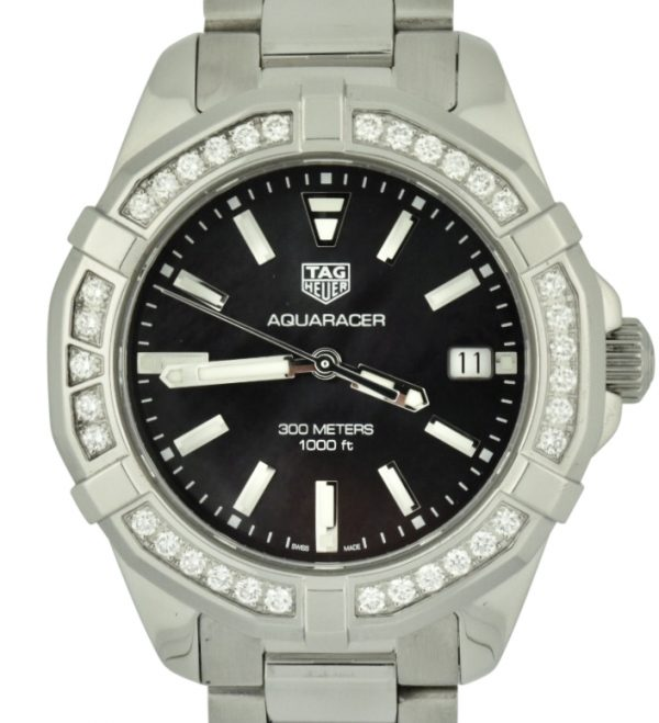 Ladies tag heuer aquaracer diamond bezel black mother of pearl watch