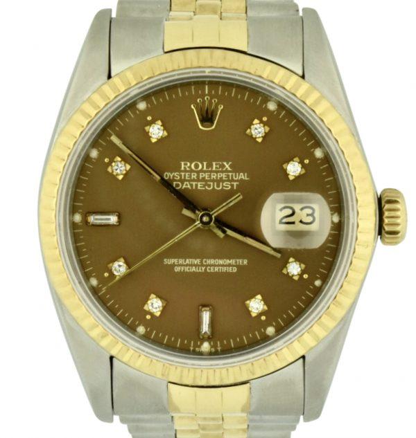 Rolex datejust 16013 chocolate diamond dial