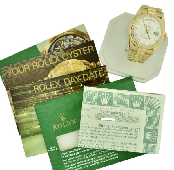 1994 Rolex Day-Date president 18238 shantung diamond dial for sale