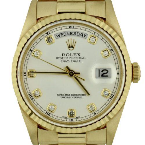 Rolex President Shantung silk diamond dial