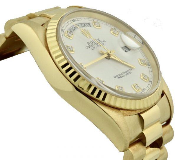 rolex 18238 president white silk dial