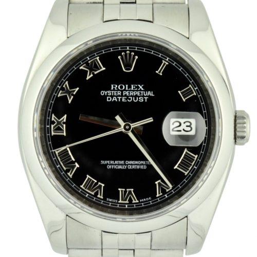 2007 Rolex Datejust 116200 black roman dial