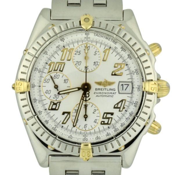 Breitling chronomat b13350 steel & gold for sale