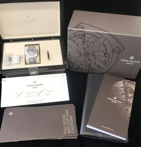 patek philippe nautilus black blue stainless 40mm for sale
