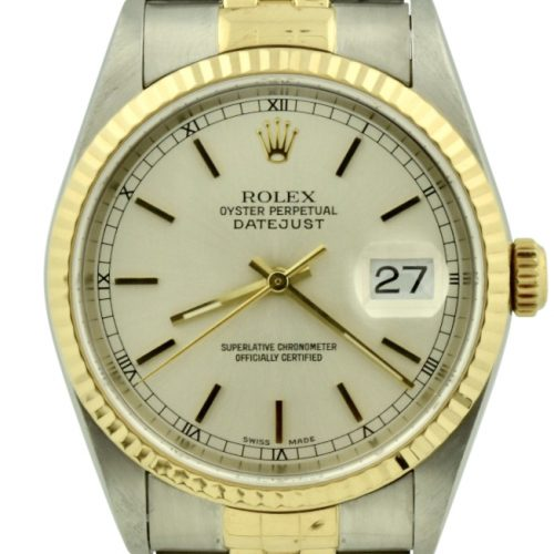 2000 rolex datejust 16233 silver dial for sale