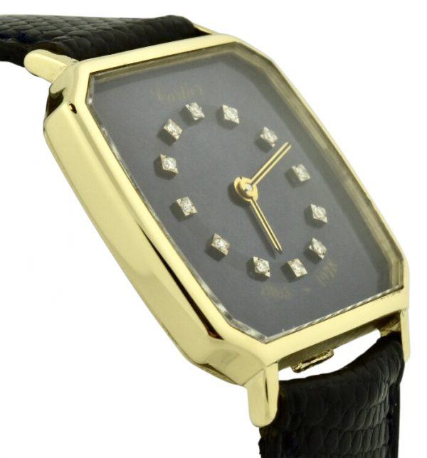 cartier 18k gold watch blue diamond dial