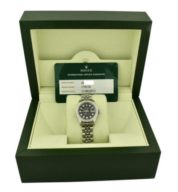2006 ladies rolex datejust 179174 diamond bezel watch