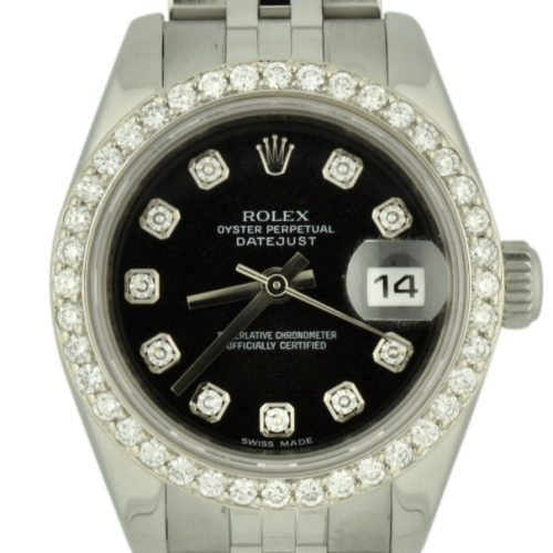 Ladies rolex datejust 179174 diamond bezel