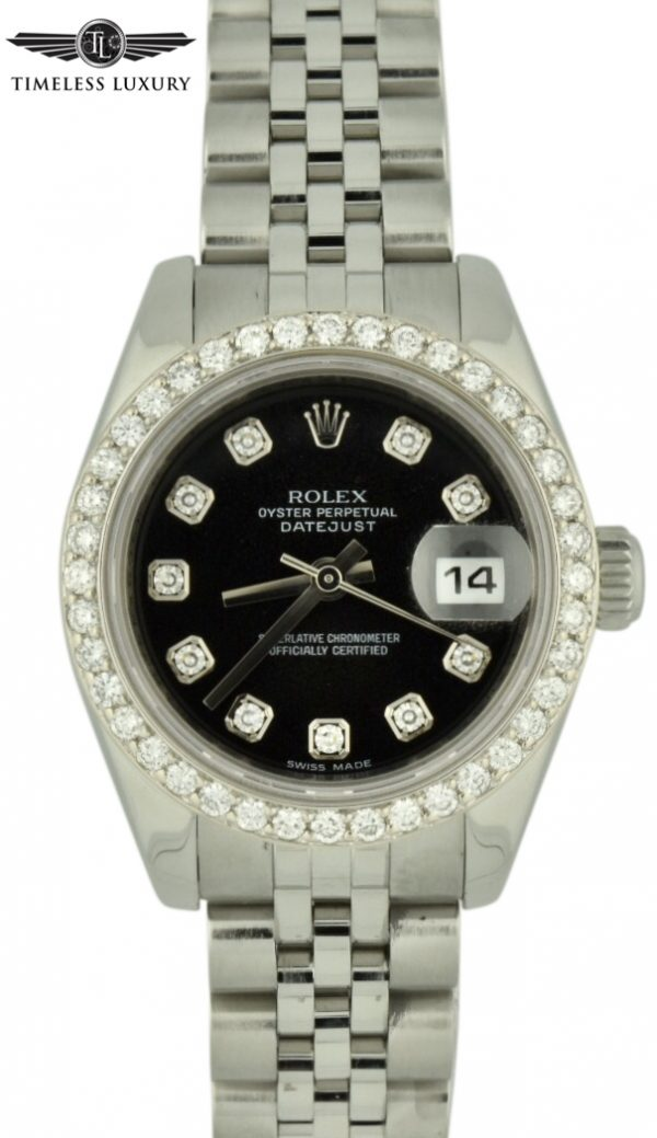 Ladies rolex datejust 179174 diamond bezel