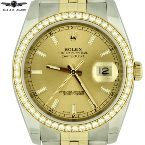 Rolex datejust 116243 diamond bezel watch