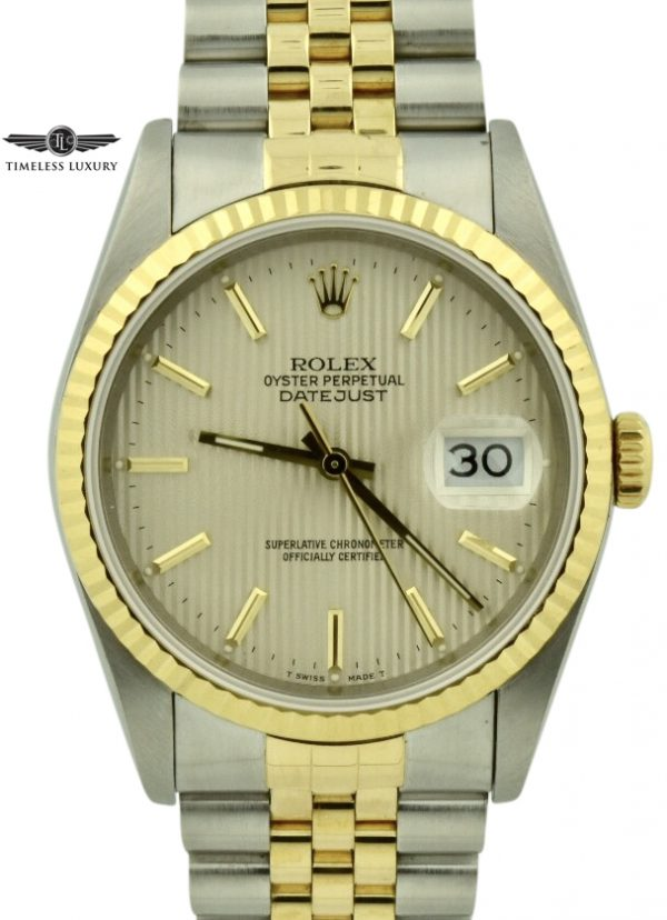 1989 Rolex Datejust 16233 Silver Tapestry Dial