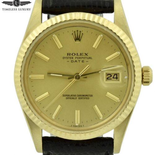 1982 Rolex date 1503 14k gold 34mm