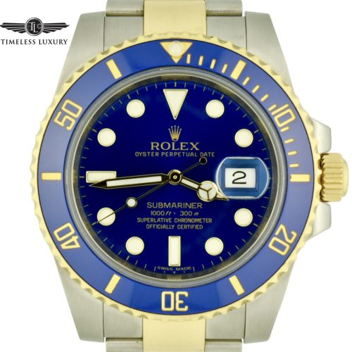 Mens rolex submariner 116613lb blue dial watch